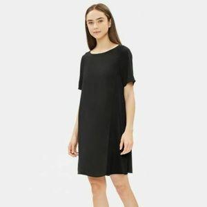 Eileen Fisher Black Dress L 100% Silk Short Sleeve